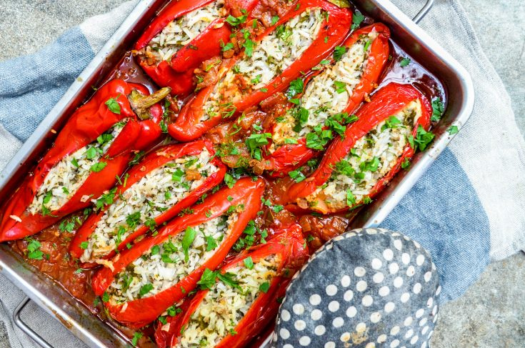 Fylt paprika med ris og kjøttdeig