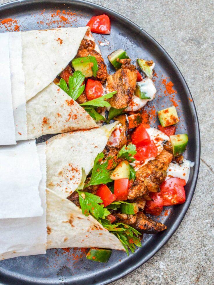 Kylling shawarma med tahiniyoghurt