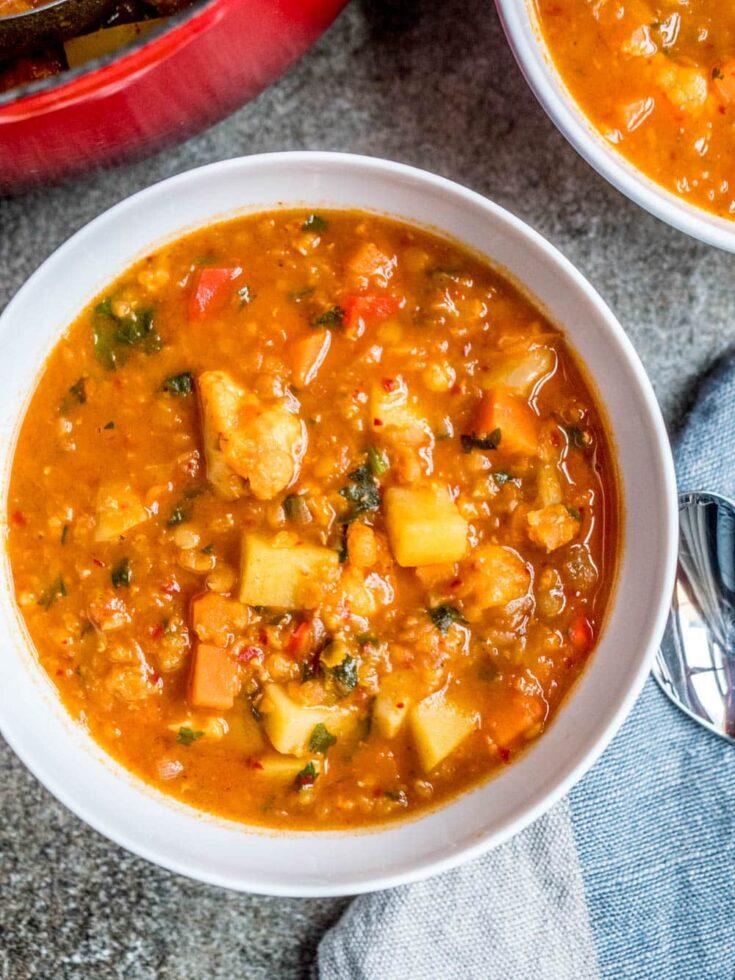 Chunky linsesuppe med grønnsaker