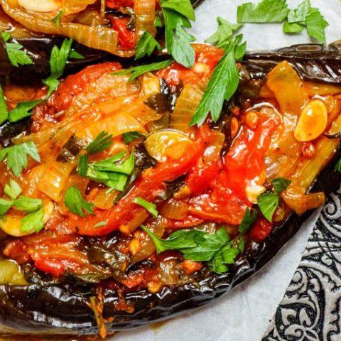 İmam bayıldı – Veganske fylt aubergine