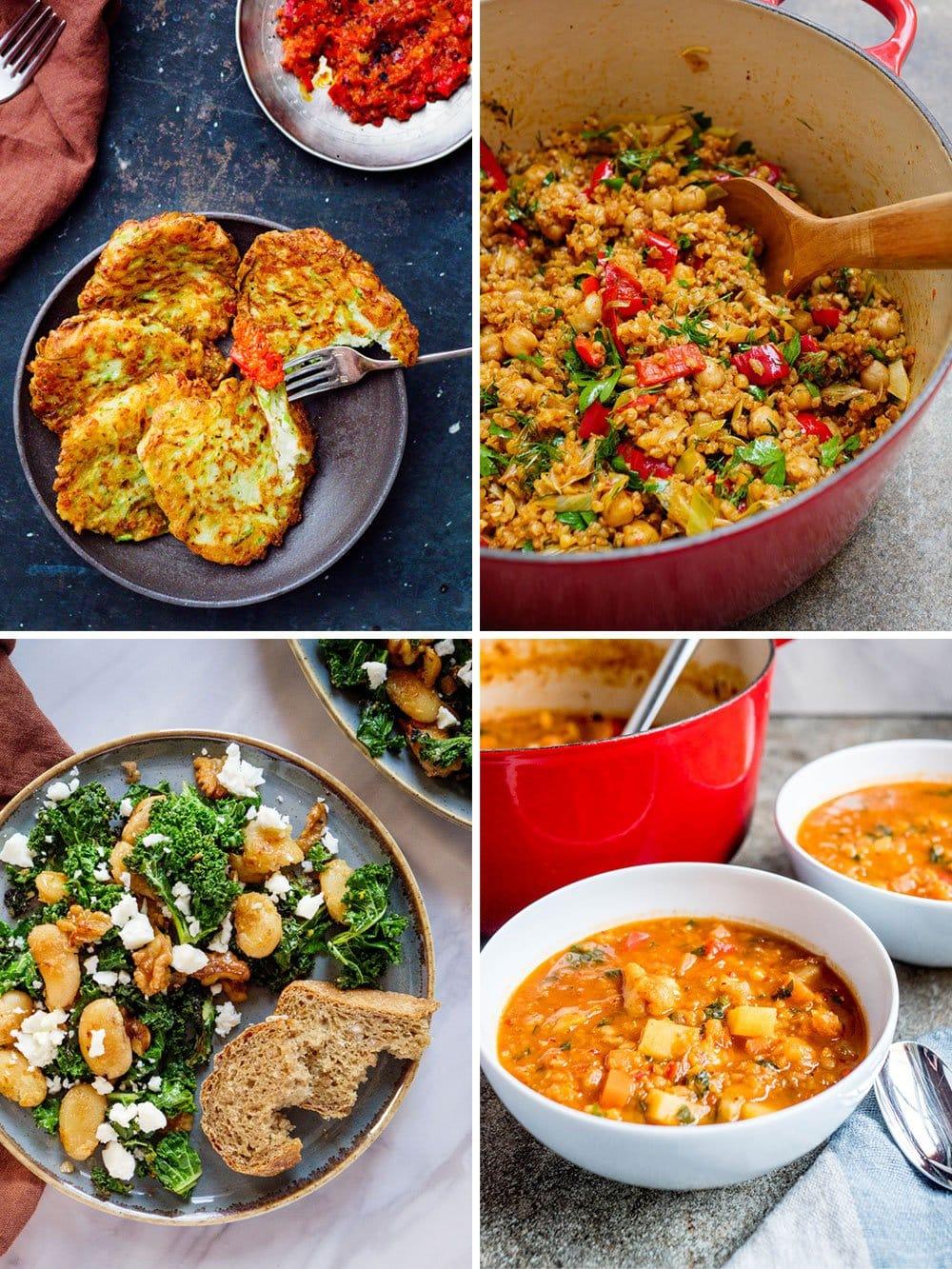 Vegetar-middager - kollasj med squashkaker, bulgurpilaff, stekte smørbønner med grønnkål og chunky linsesuppe