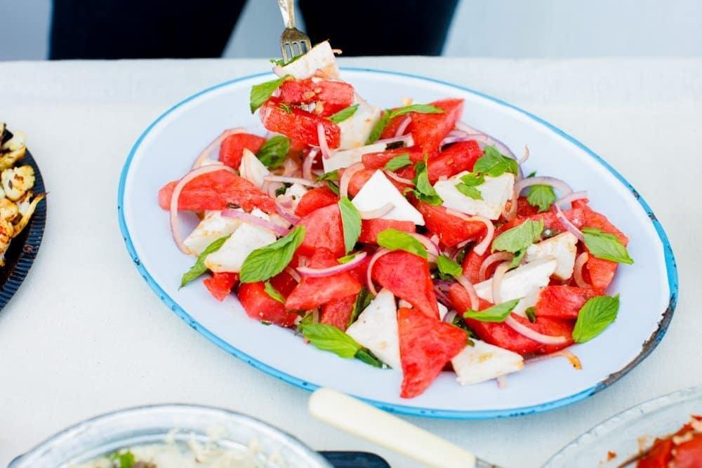 Vannmelon- og fetasalat på mezebord