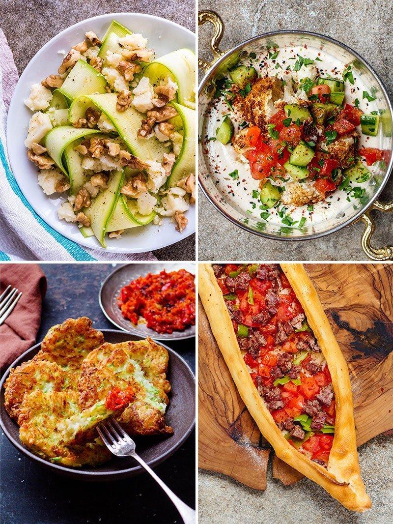 Kollasj: Rå squashsalat, blomkålhummus, squashburger og tyrkisk pizza
