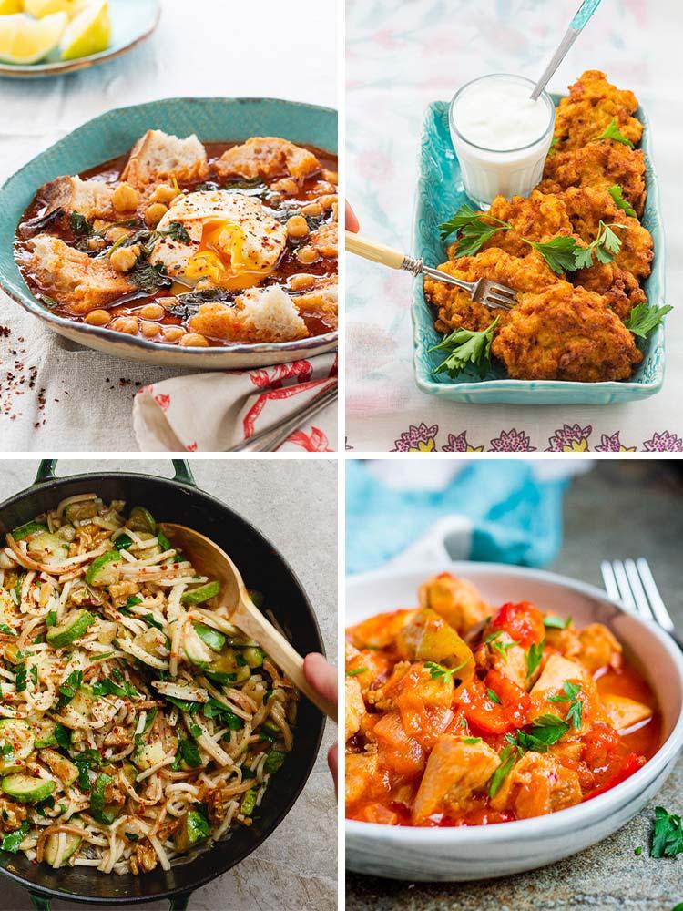 Kollasj: Tunisisk kikertsuppe, blomkålburgere, pasta med squash og valnøtter, tyrkisk kyllinggryte med paprika