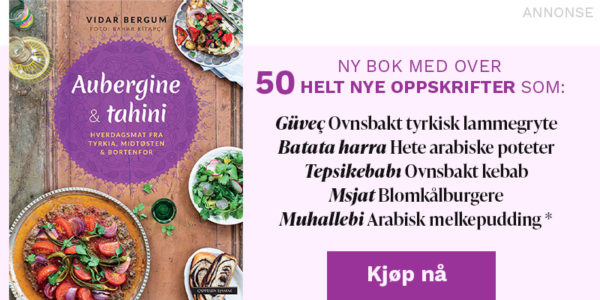 AUBERGINE & TAHINI - Ny bok med over 50 helt nye oppskrifter! Deriblant ovnsbakt tyrkisk lammegryte, hete arabiske poteter, ovnsbakt kebab, blomkålburgere og arabisk melkepudding