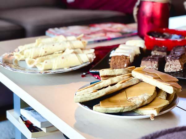 Lefser på juledekket kaffebord