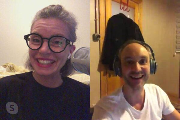 Maj-Britt Aagaard og Vidar Bergum på Skype under innspilling av podkasten Vaffel