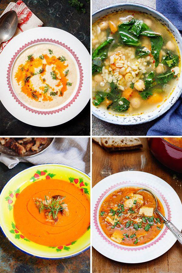 Fire supper i kollasj: Blomkålsuppe, varmende vintersuppe, tomatsuppe og tyrkisk tomatsuppe med kjøttdeig