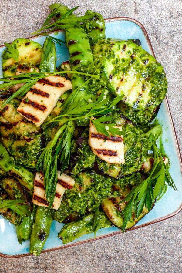 Grillede grønnsaker med persilleolje