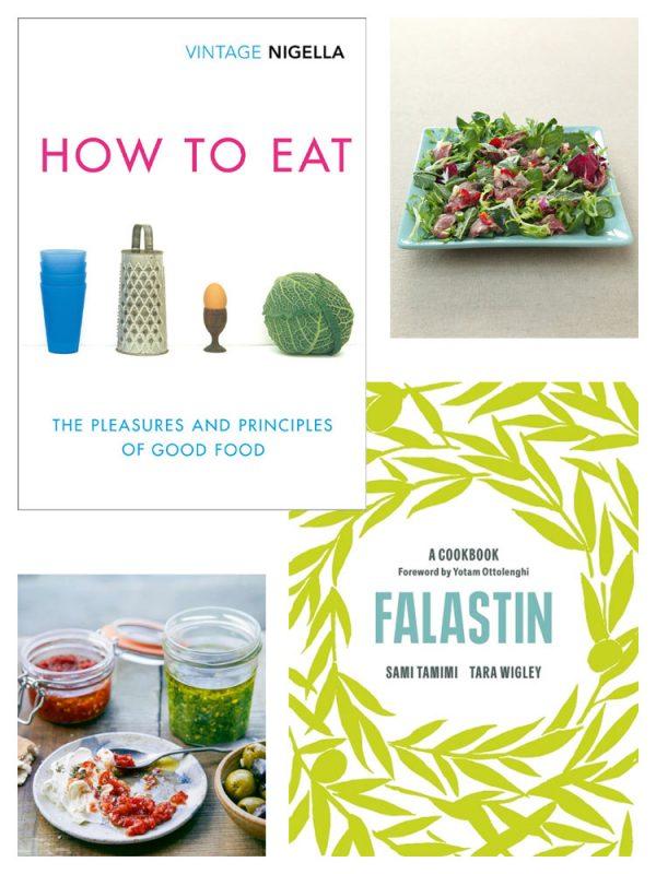 Omslag for How to Eat av Nigella Lawson og Falastin av Sami Tamimi og Tara Wigley med bilde av en rett fra hver bok